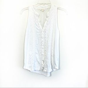 Anthro Meadow Rue all white button front top